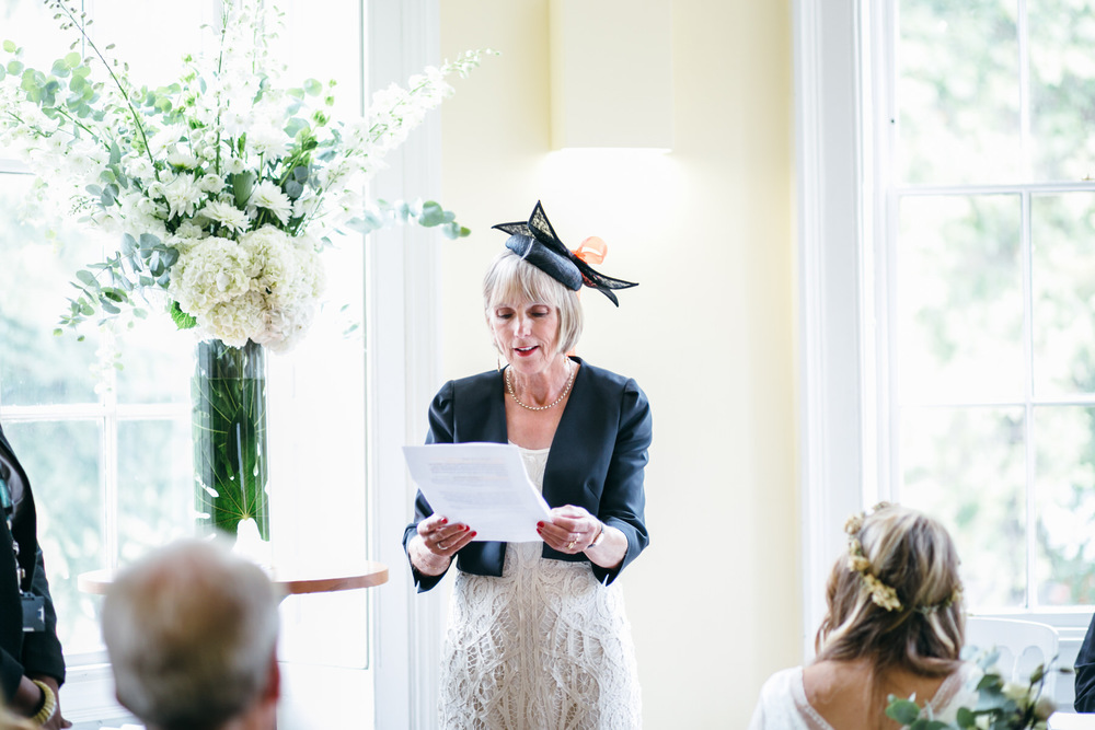 mother of bride reading Clissold House wedding ceremony