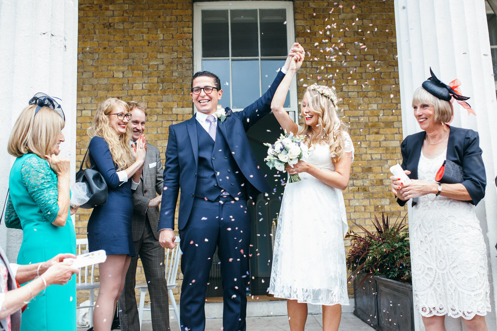 confetti shot Clissold House relaxed wedding photos