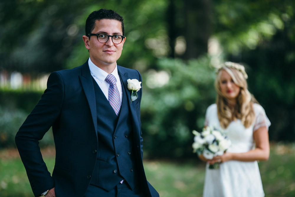 elegant groom wedding photos bride London