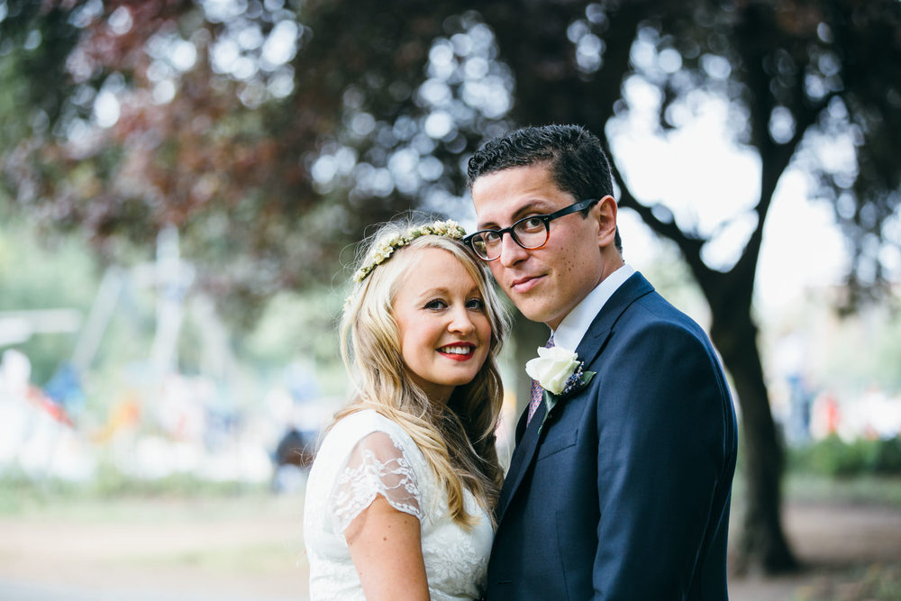 beautiful wedding portrait newly married couple Stoke Newington