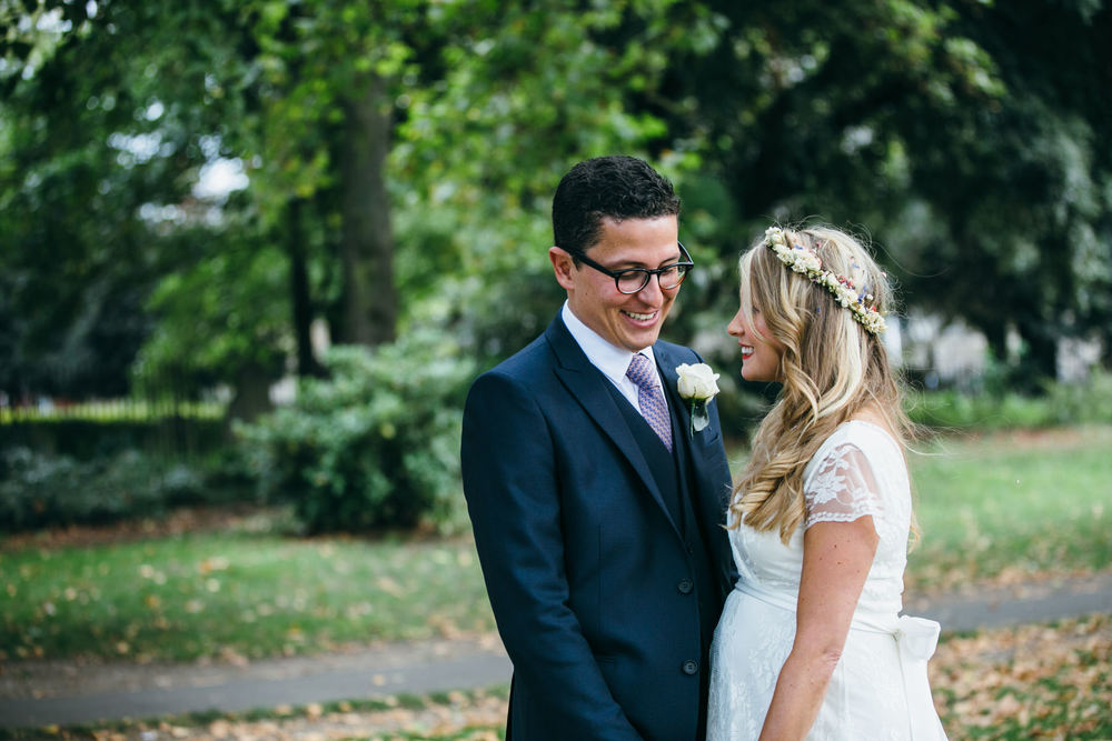 beautiful boho bride intimate moment groom Stoke Newington