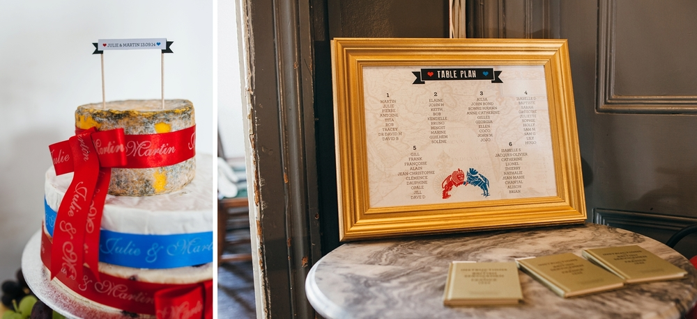 English French decorated cheese cake table plan The Stag pub wedding photos