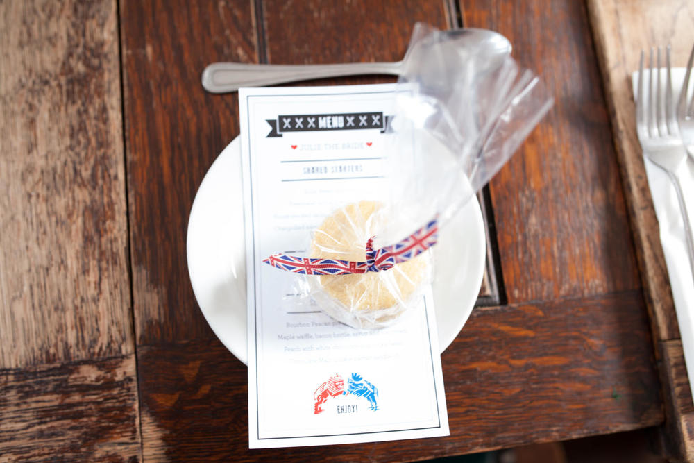 Shortcake wedding favour british flag ribbon