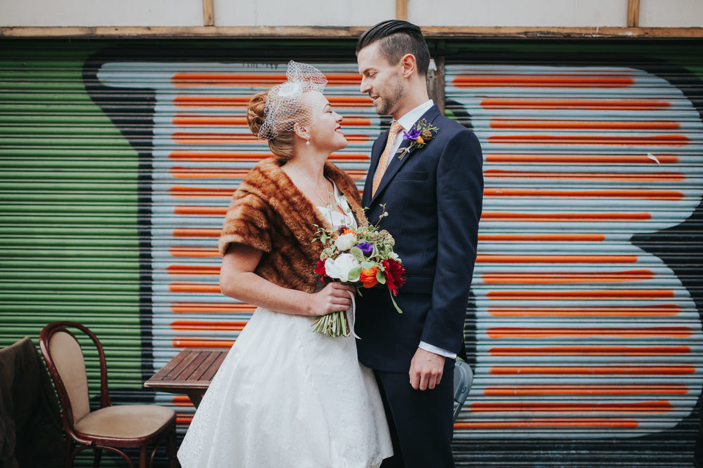 quirky wedding portraits grafitti shop front London
