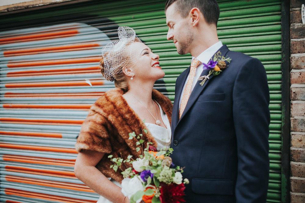 quirky romantic wedding portrait Broadway market