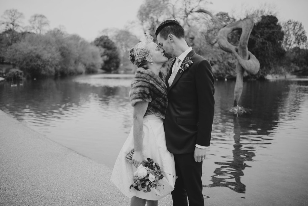 MS-Londesborough-Pub-wedding-Hackney-alternative-photographer-157-BW-just-married-untraditional-bride-groom-bridal-portraits-Victoria-Park.jpg
