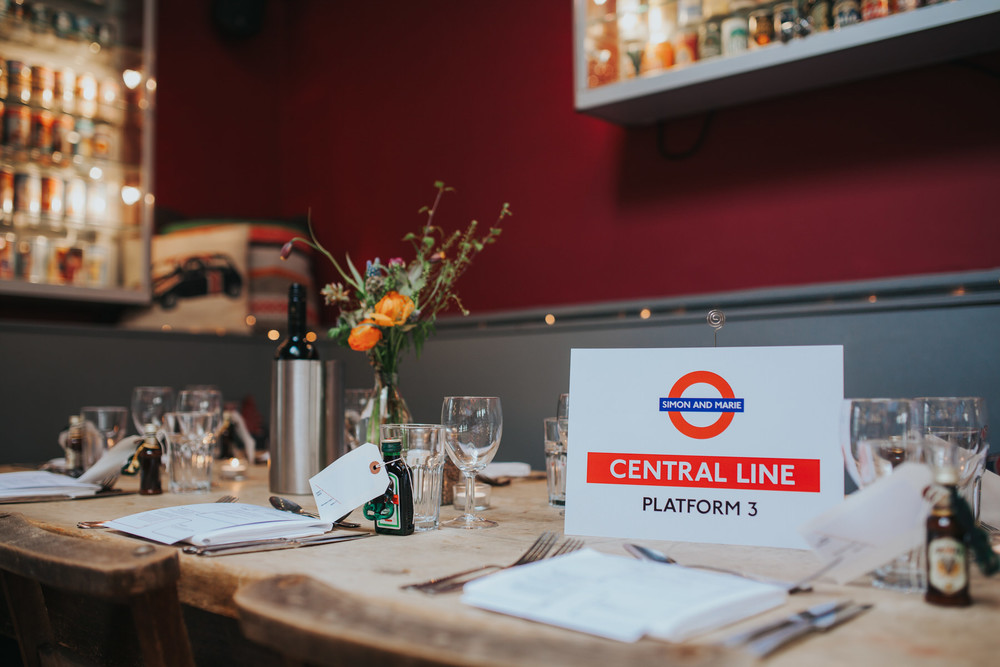 Central Line inspired tables Londesborough Pub wedding