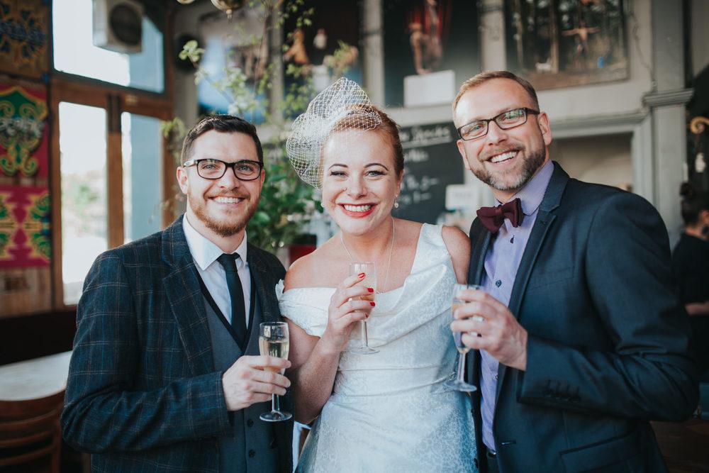 bride posing with friends The Londesborough Pub wedding
