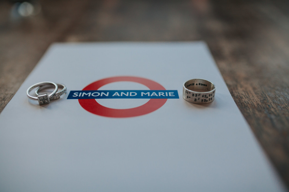 Simon + Marie unique wedding rings on tube inspired wedding invitation