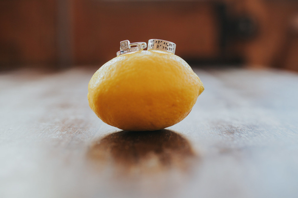 Simon + Marie unique wedding rings on a lemon photography