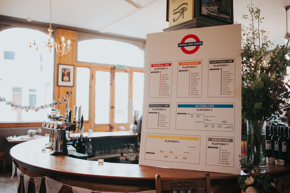 London Underground inspired table plan Londesborough Pub wedding