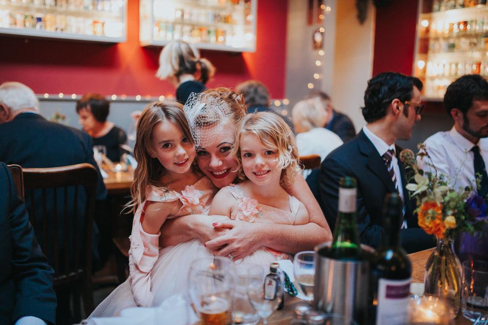 bride with flowergirls Stoke Newington wedding