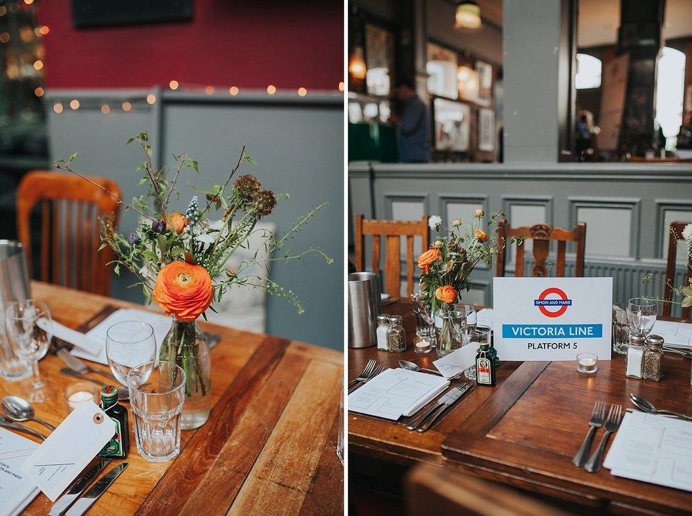 Victoria Line inspired tables Londesborough Pub wedding