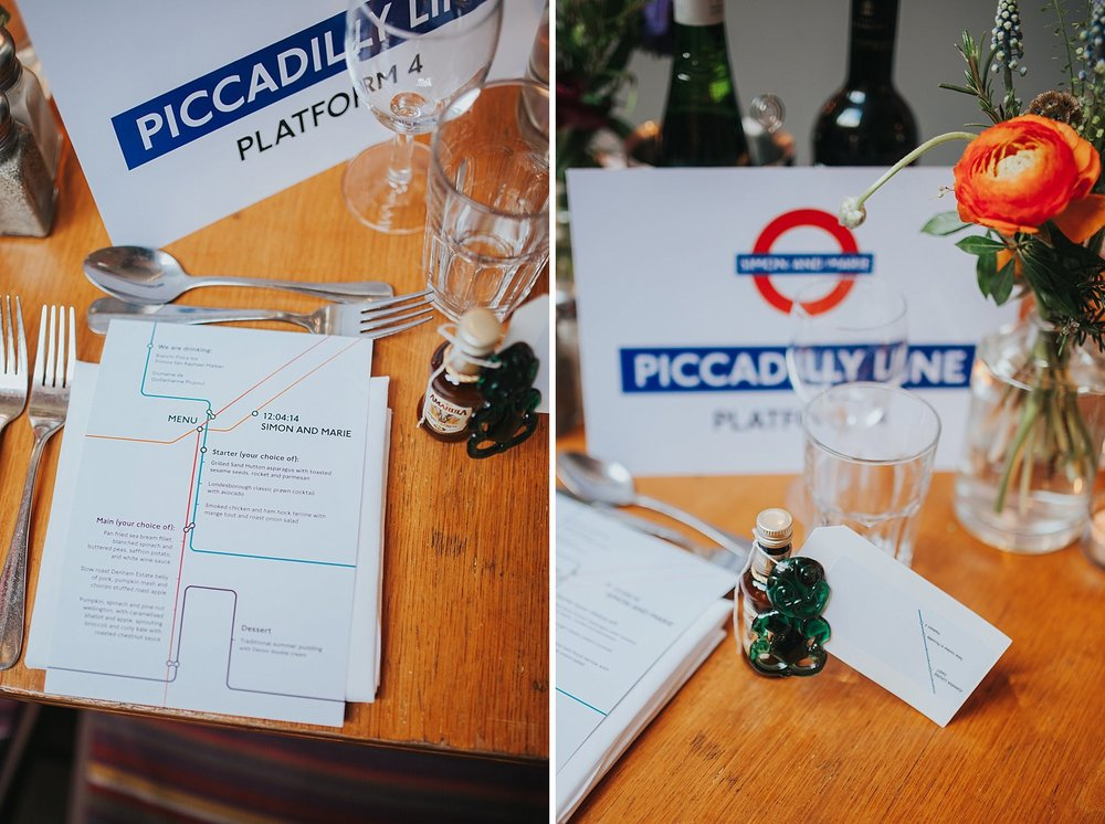 Picadilly Line inspired tables Londesborough Pub wedding