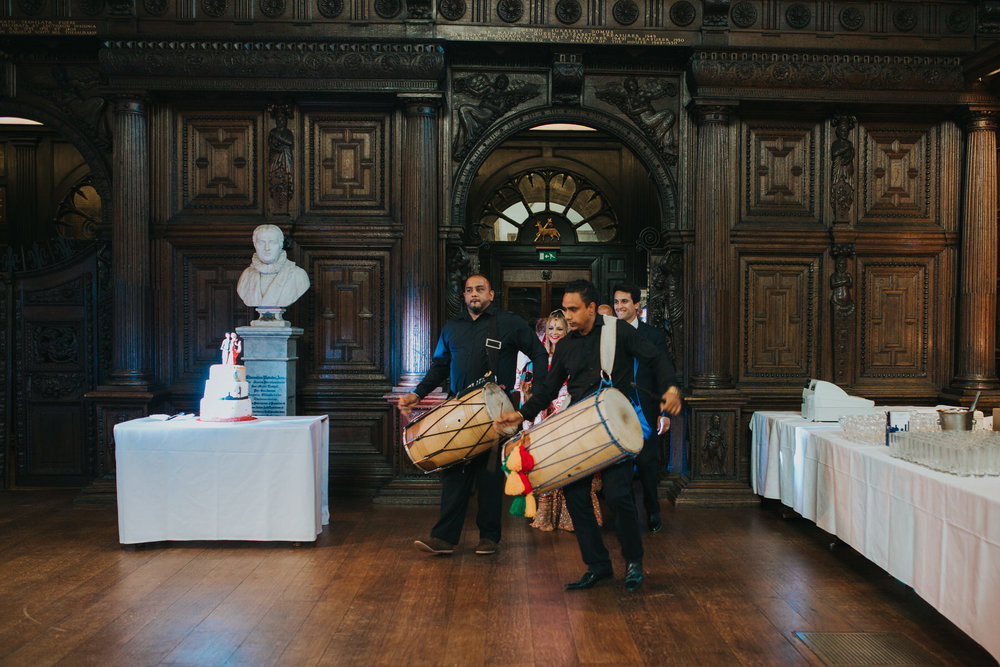 169-Anglo-Asian-London-Wedding-Dhol-Squad-lead-couple.jpg