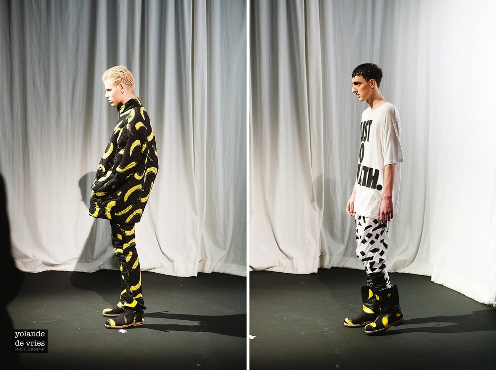 Horace AW11 banana suit on catwalk London photographer