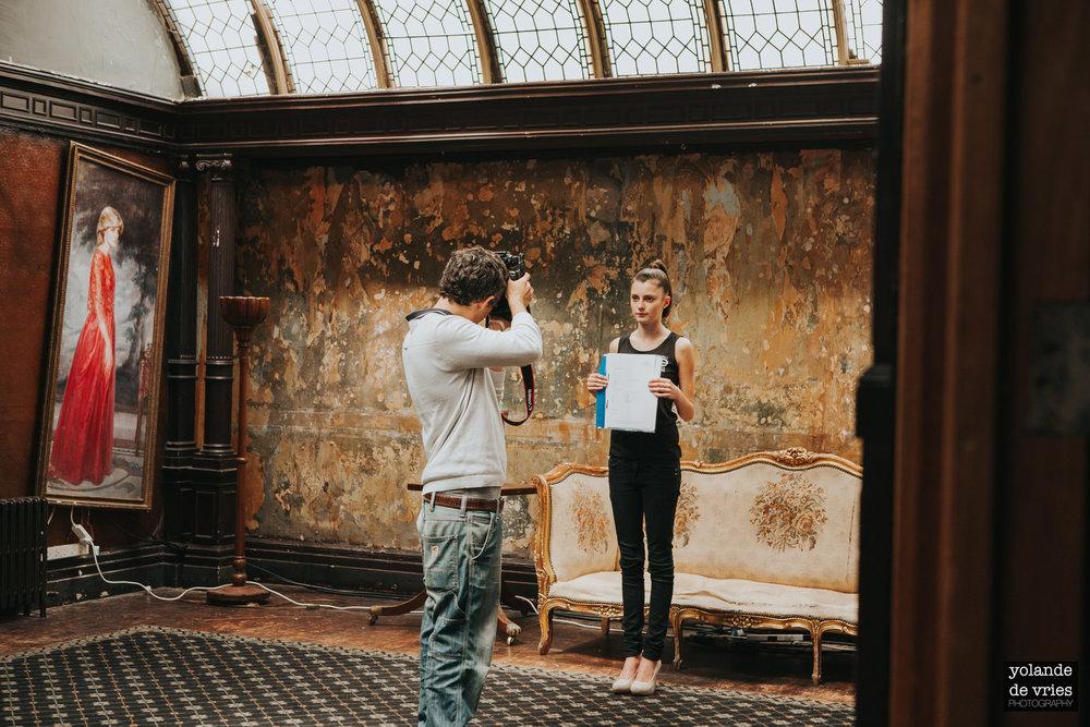head shots during casting London fashion reportage photographer Yolande De Vries