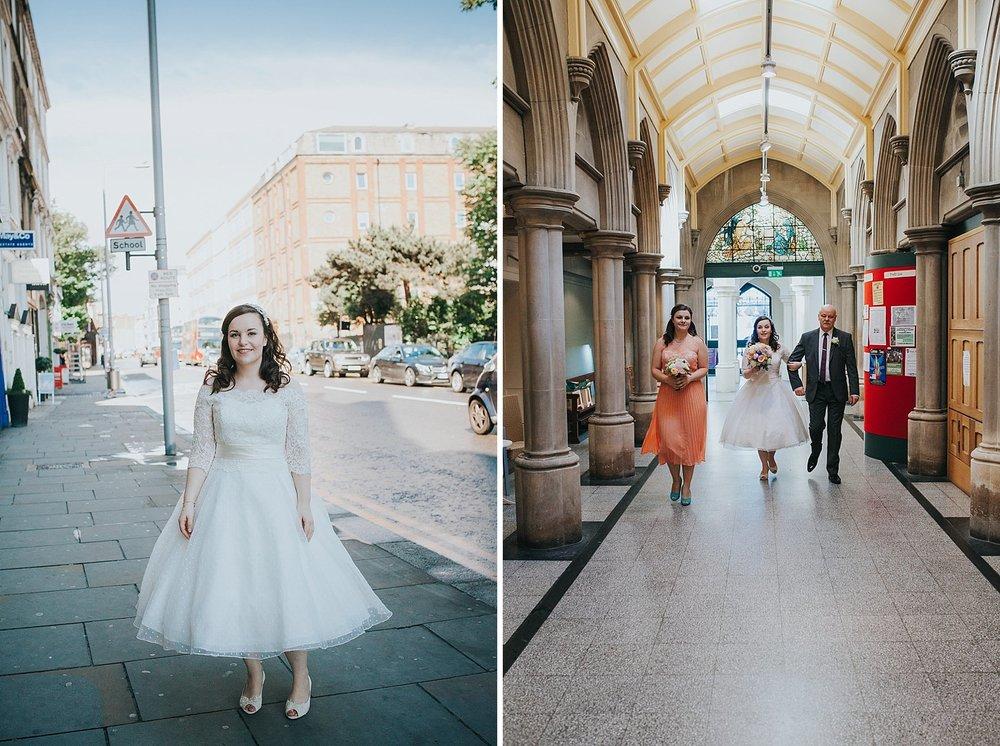 14 father of bride enter Fulham Catholic Church quirky wedding.jpg