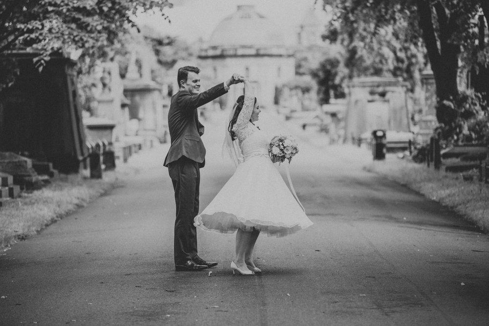 166 BW dancing groom bride wedding photography Brompton Cemetery_.jpg