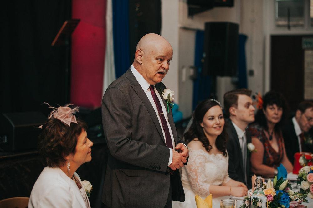 218 school hall wedding reception speeches London.jpg