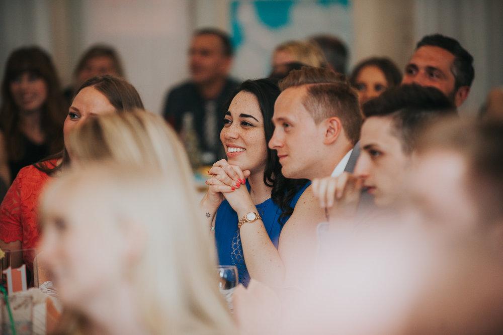 235 guest reactions school hall wedding reception London.jpg