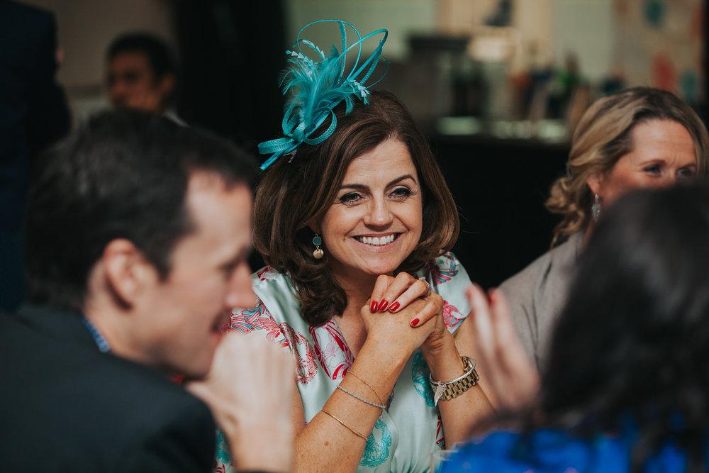 250 female guest reportage school hall wedding reception London.jpg