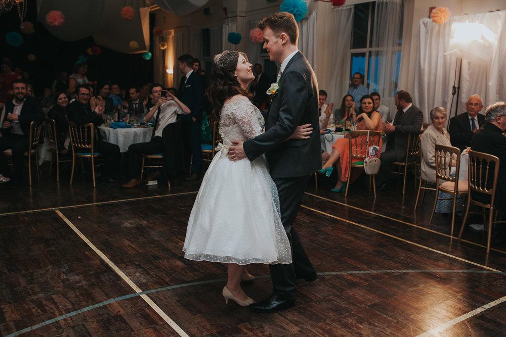253 bride first dance groom school hall wedding reception London.jpg