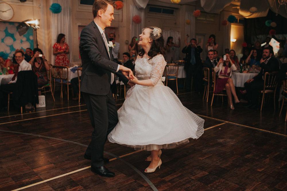 257 bride groom first dance school hall wedding reception London.jpg