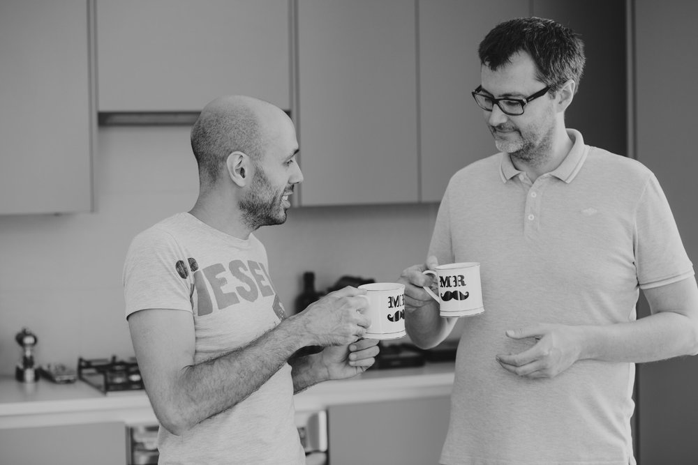 31 BW same sex couple holding mr and mr moustache cups.jpg