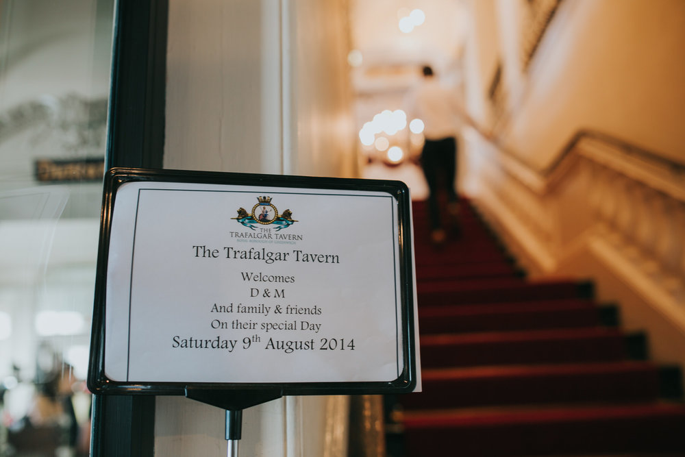 178 Trafalgar Tavern wedding venue welcome sign.jpg