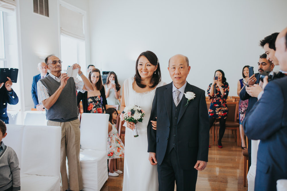 father walks bride down aisle Asia House wedding ceremony