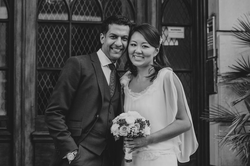 black and white wedding photograph newly married couple London