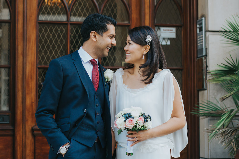 relaxed wedding portraits bride groom Asia House Marylebone