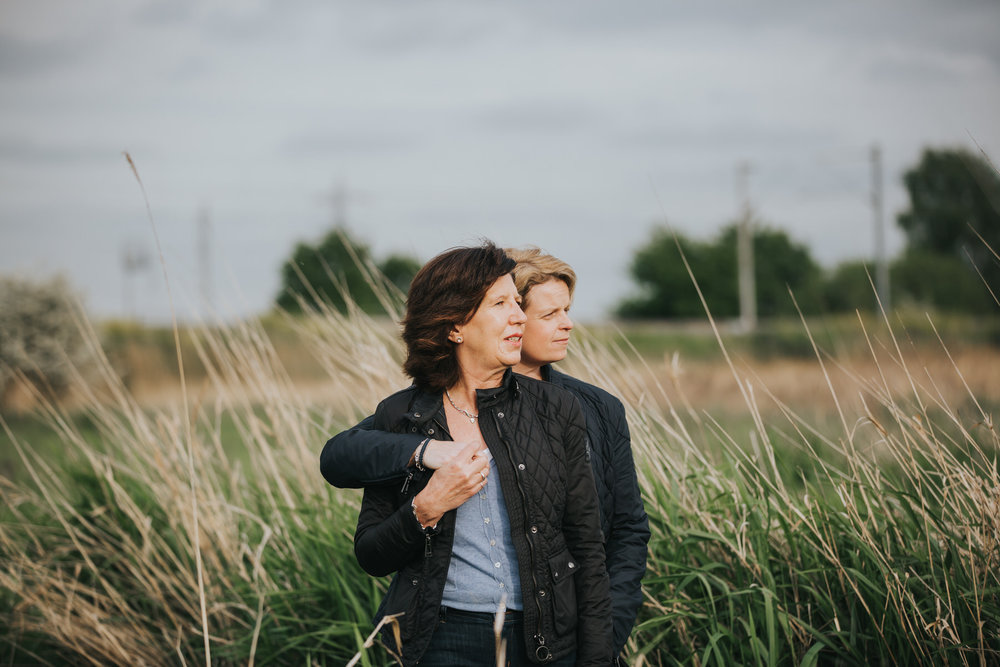 golden light same sex couple portrait Hackney marshes