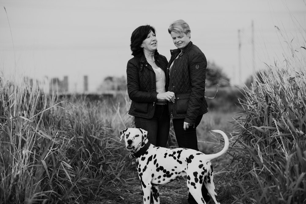23 engagement photo with dalmatian dog BW London.jpg