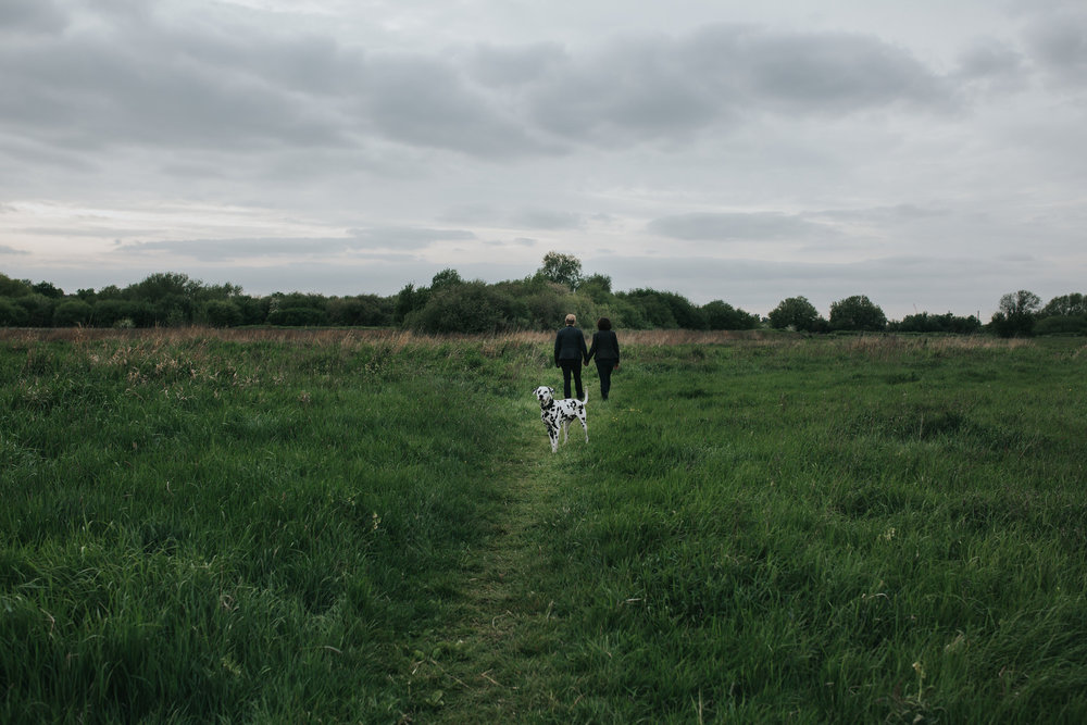 90 Hackney marshes relaxed engagement shoot dalmatian dog.jpg