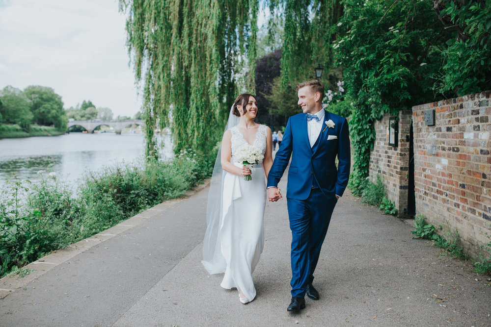 bride groom walking towpath Richmond The Bingham Hotel wedding.jpg