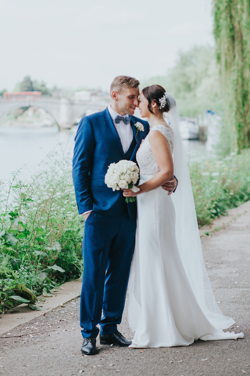 Relaxed beautiful Bingham Hotel bridal portrait river towpath.jpg