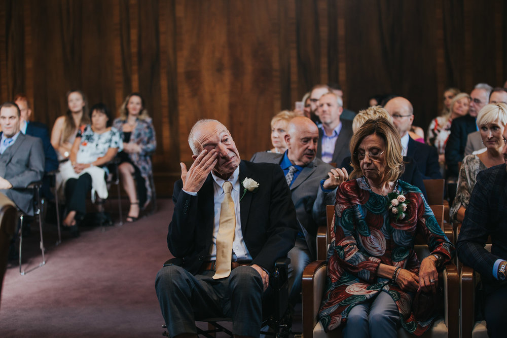 Emotional father Stoke Newington Town hall wedding documentary photo.jpg