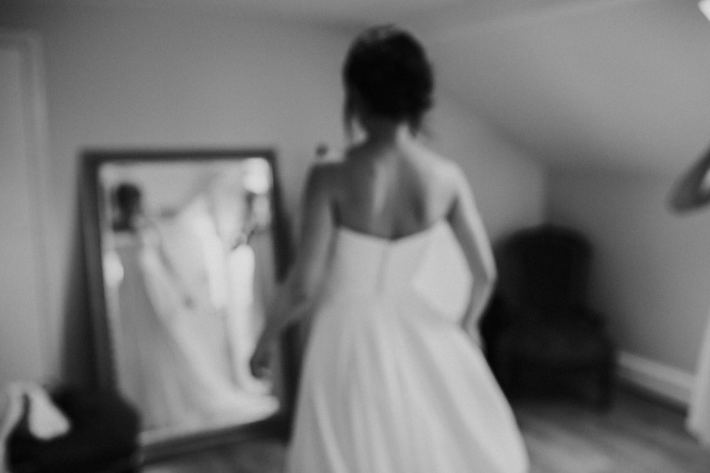 Belair House wedding blurry bride dress mirror BW.jpg