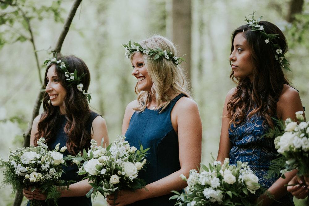 56 bridesmaids navy blue dress flower crowns woodland wedding Kent.jpg