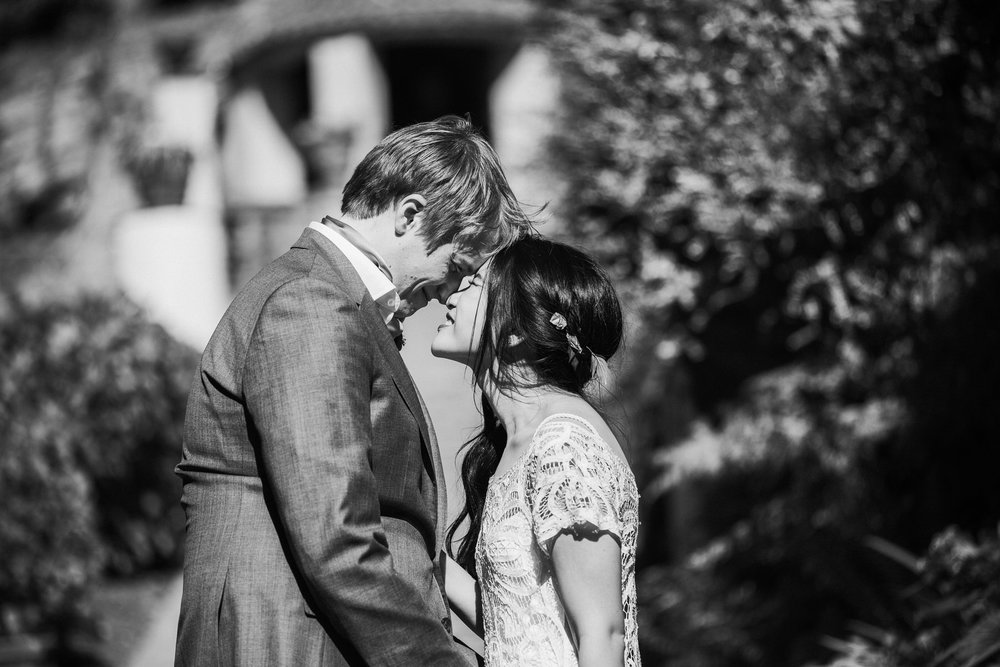 774 bride intimate moment bride portraits around Portmeirion BW.jpg