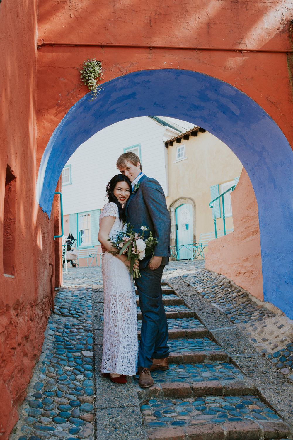 800 just married Shaina  Gwilym colourful wedding portrait Portmeirion.jpg