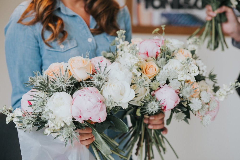 14 Islington two brides bouquets blush pink peonies roses thistles.jpg