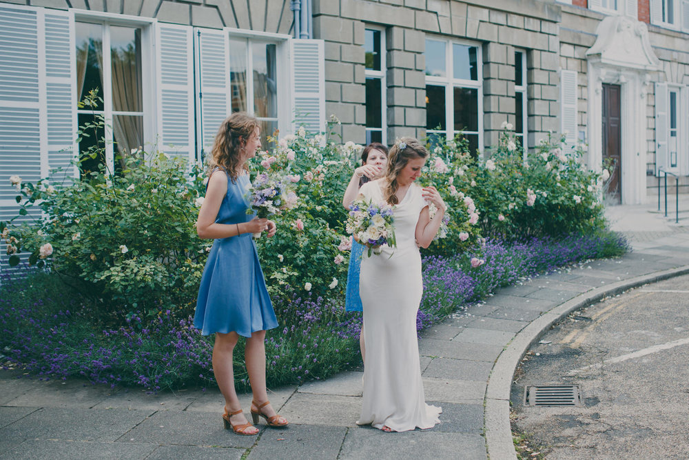 8 bride with bridesmaids cornflower blue dresses outside York House .jpg