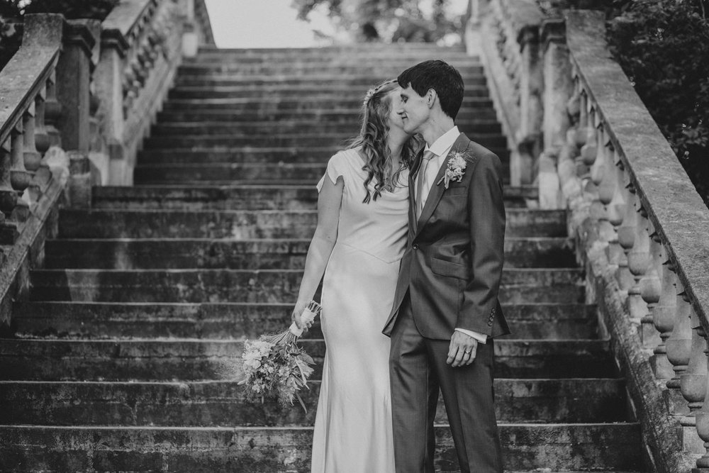 29 York House bride groom wedding portraits garden steps.jpg