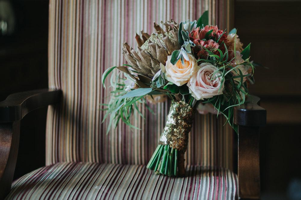 65 Boutique Blooms wedding bouquet gold protea gold sequins blush roses.jpg
