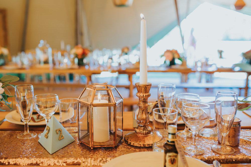 165 Knepp Castle rose gold candlestick holder sequin wedding styling Yolande De Vries Photography.jpg