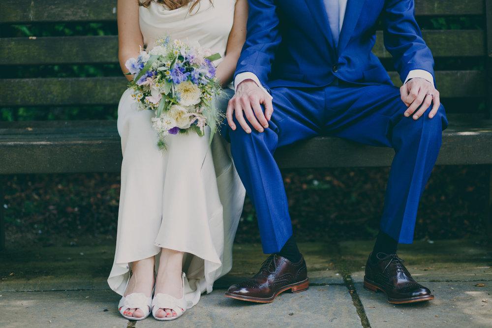 York House wedding photographer groom bride bench wildflower bouquet.jpg