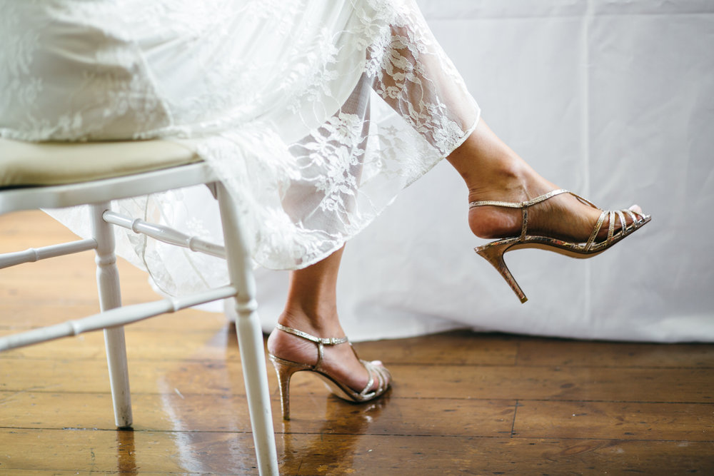 brides silver strappy wedding sandal Clissold House wedding Hackney Ceremony.jpg